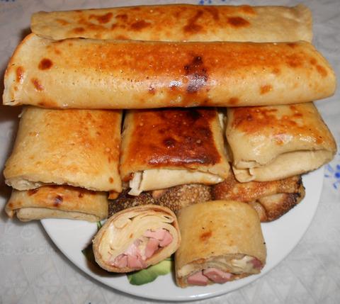 блинчики с сыром и колбасой рецепт с фото