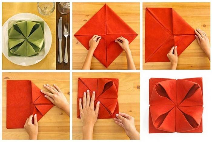 как заворачивать салфетки на стол