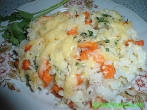 Рыба с рисом и овощами в духовке рецепт с пошагово
