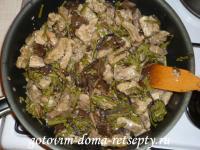 Как приготовить тушеное мясо с грибами и папоротником