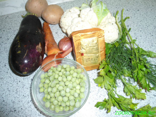 Овощной суп с плавленым сырком