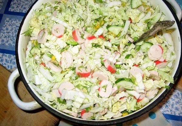 Салаты из китайской капусты и крабовых палочек рецепт с