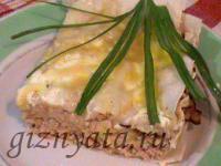 Пирог из лаваша с мясом