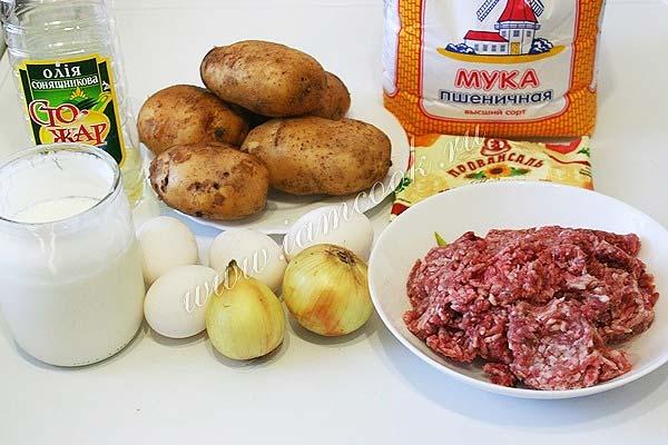Ингредиенты для приготовления картофельной запеканки в мультиварке