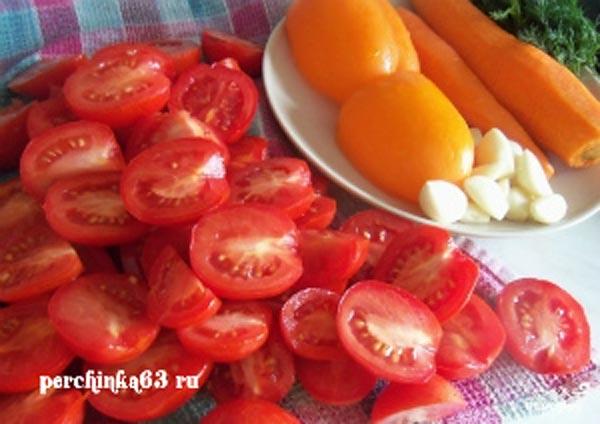 Помидоры по-корейски с перцем