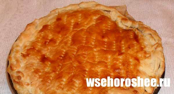 Пирог с курагой из слоеного теста