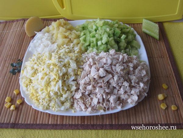 Праздничный пасхальный салат- порезано