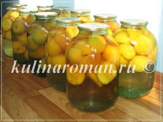 Быстрый компот из персиков на зиму (без стерилизации)